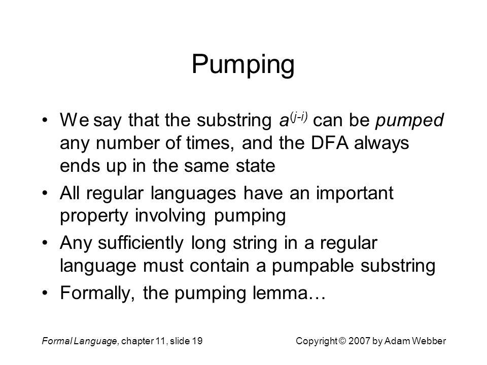 Pumping We say that the substring a(j-i) can be pumped any number of times, and the DFA always ends up in the same state.