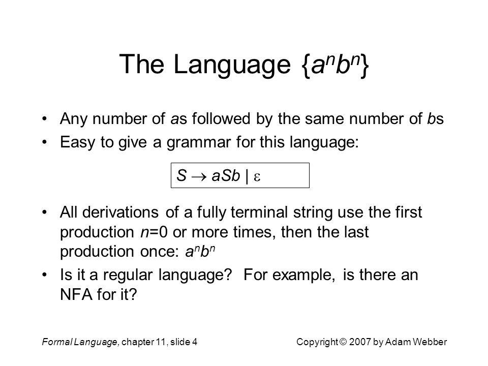 The Language {anbn} Any number of as followed by the same number of bs