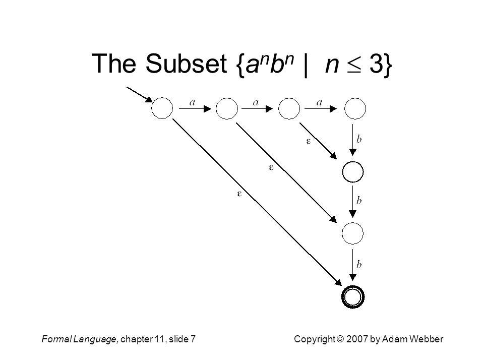 The Subset {anbn | n  3} Formal Language, chapter 11, slide 7