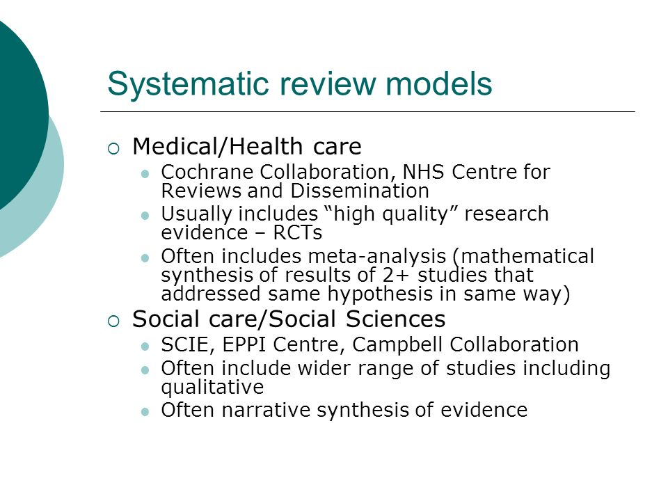 Systematic review models