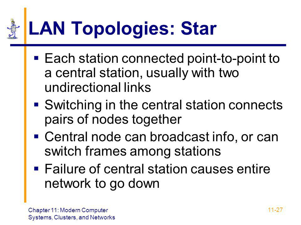 LAN Topologies: Star Each station connected point-to-point to a central station, usually with two undirectional links.