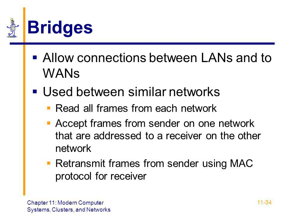 Bridges Allow connections between LANs and to WANs