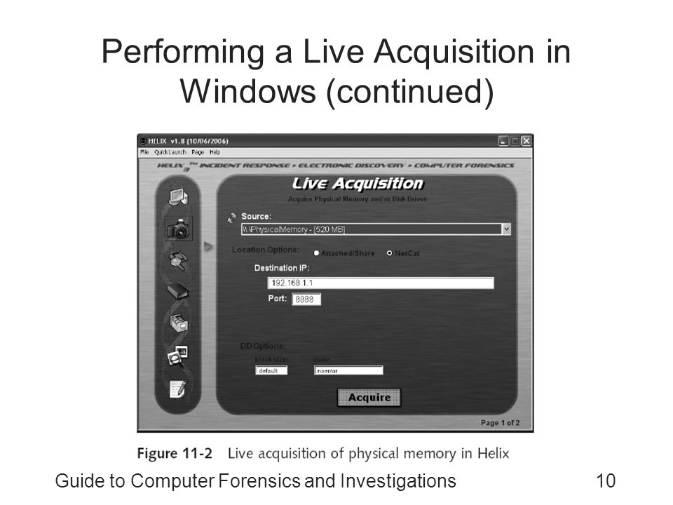 Performing a Live Acquisition in Windows (continued)