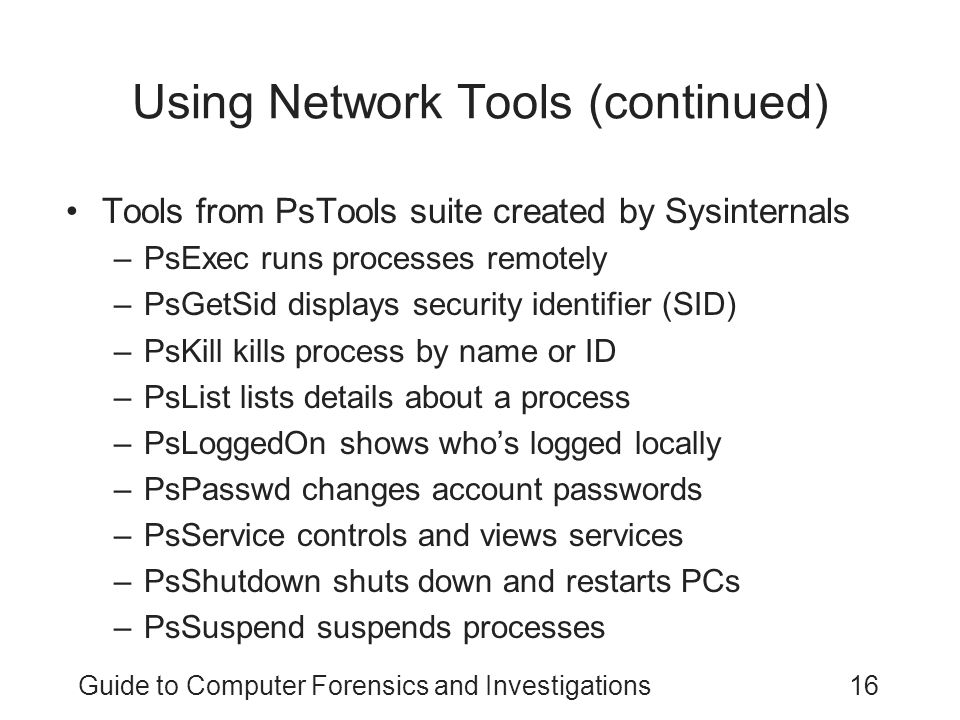 Using Network Tools (continued)