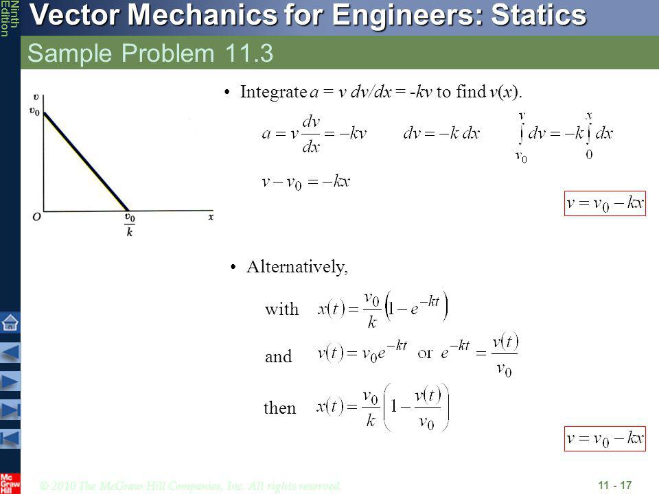Sample Problem 11.3 Integrate a = v dv/dx = -kv to find v(x).