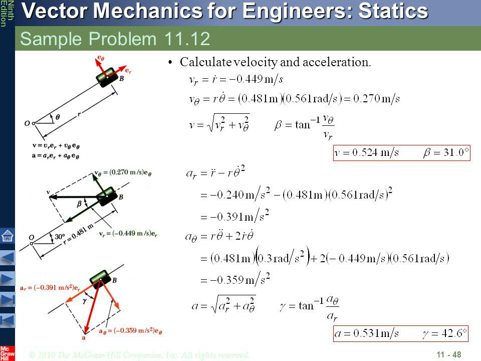 Sample Problem 11.12 Calculate velocity and acceleration.