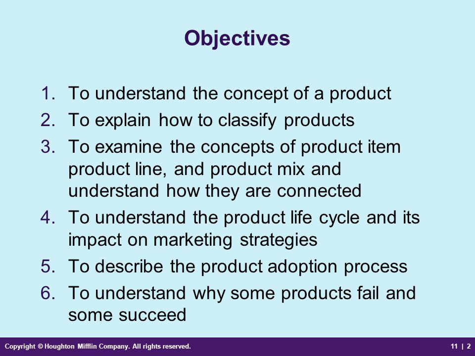 Objectives To understand the concept of a product