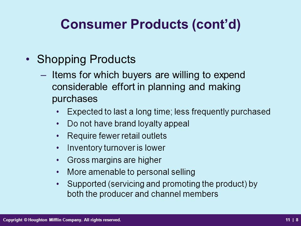 Consumer Products (cont'd)