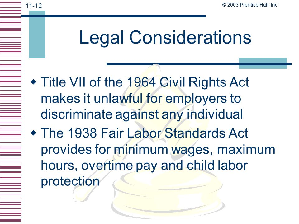 Legal Considerations Title VII of the 1964 Civil Rights Act makes it unlawful for employers to discriminate against any individual.