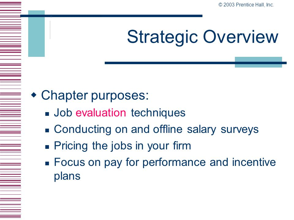 Strategic Overview Chapter purposes: Job evaluation techniques