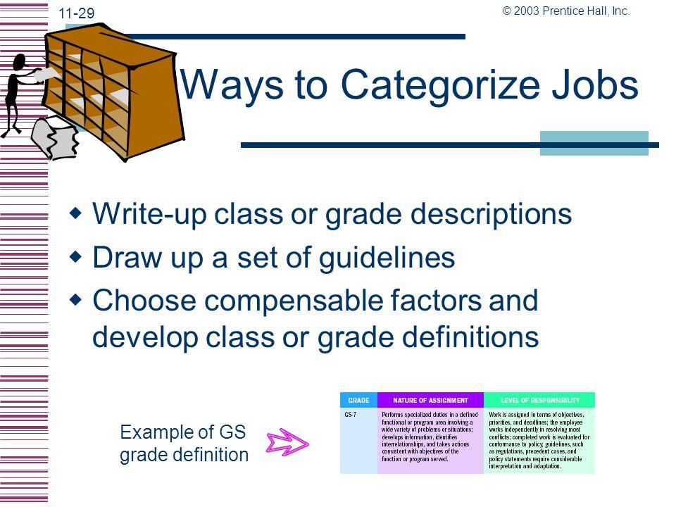 Ways to Categorize Jobs