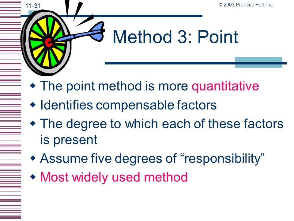 Method 3: Point The point method is more quantitative