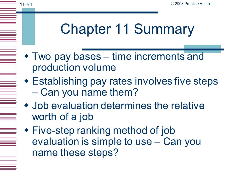 Chapter 11 Summary Two pay bases – time increments and production volume. Establishing pay rates involves five steps – Can you name them