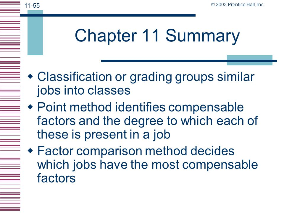 Chapter 11 Summary Classification or grading groups similar jobs into classes.