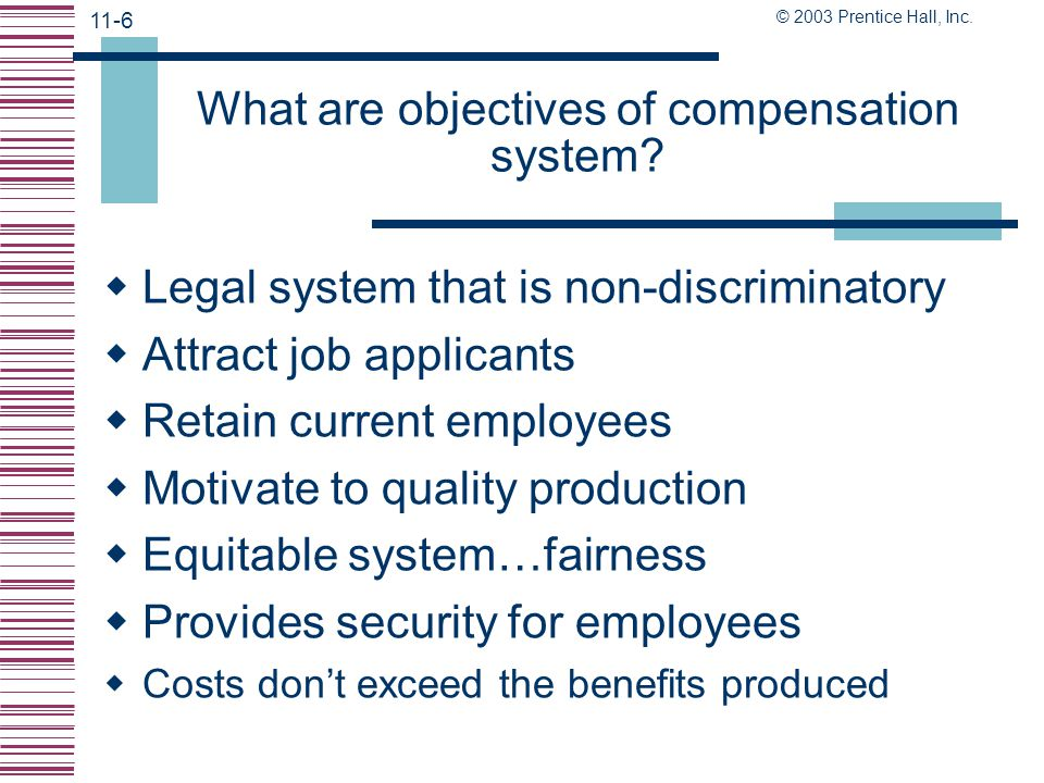 What are objectives of compensation system