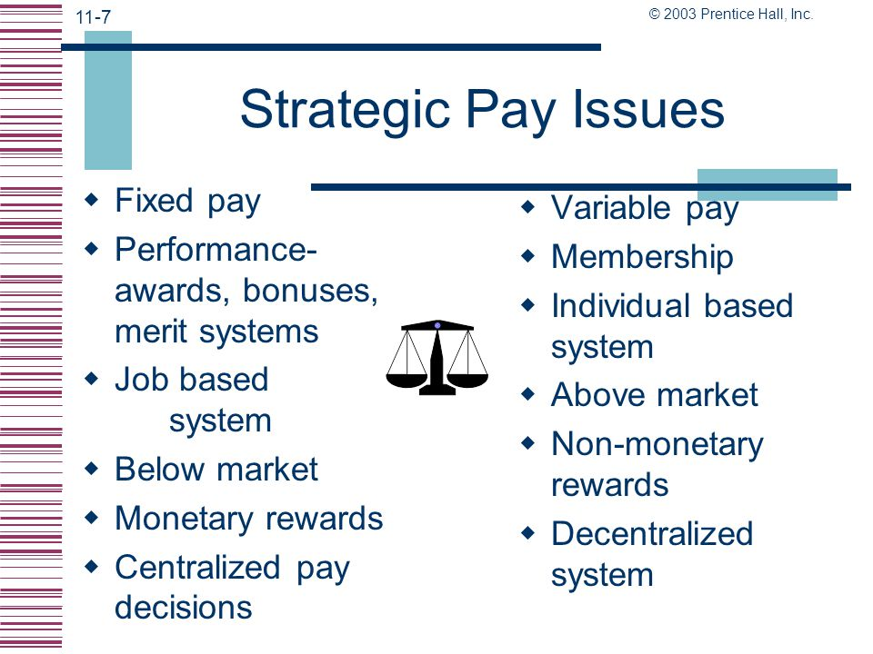 Strategic Pay Issues Fixed pay Variable pay