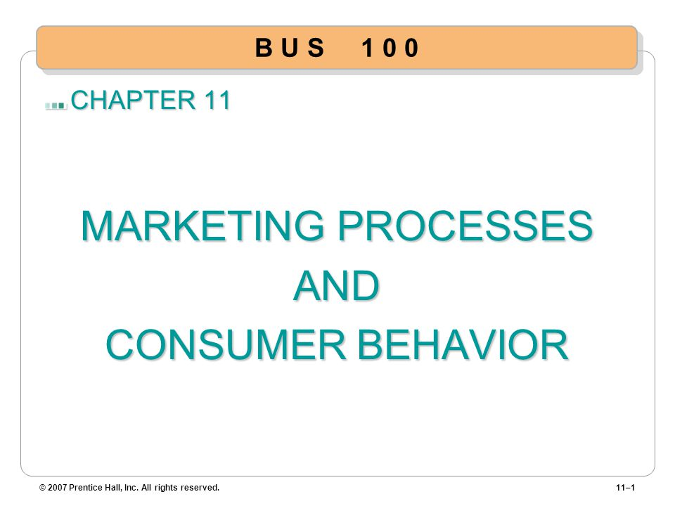 MARKETING PROCESSES AND CONSUMER BEHAVIOR B U S 1 0 0 CHAPTER 11