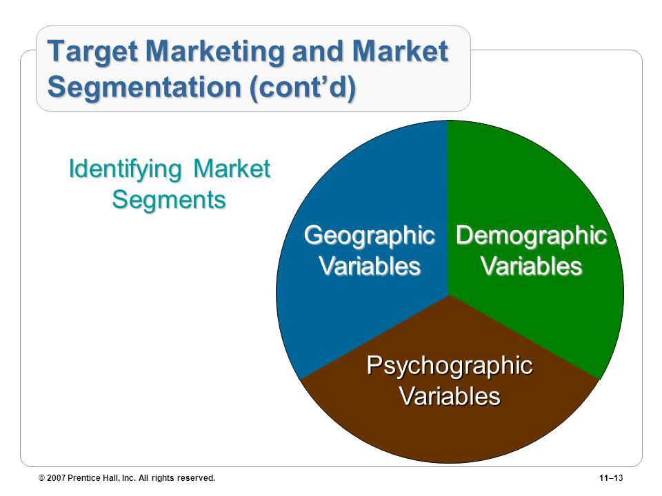 Target Marketing and Market Segmentation (cont'd)