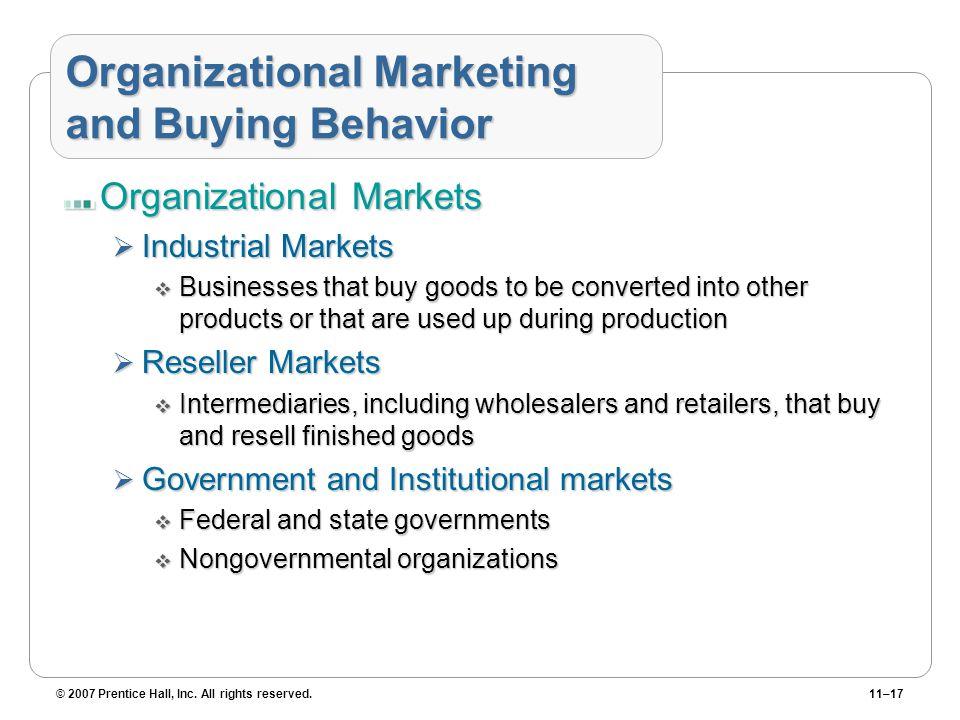 Organizational Marketing and Buying Behavior