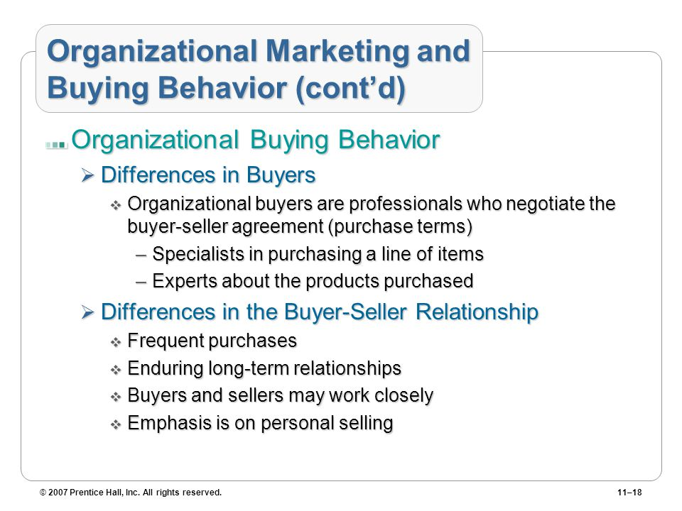 Organizational Marketing and Buying Behavior (cont'd)