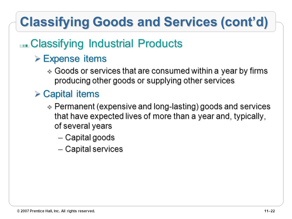 Classifying Goods and Services (cont'd)