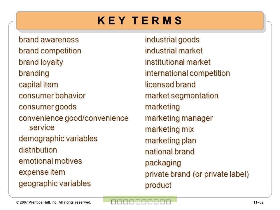 K E Y T E R M S brand awareness brand competition brand loyalty