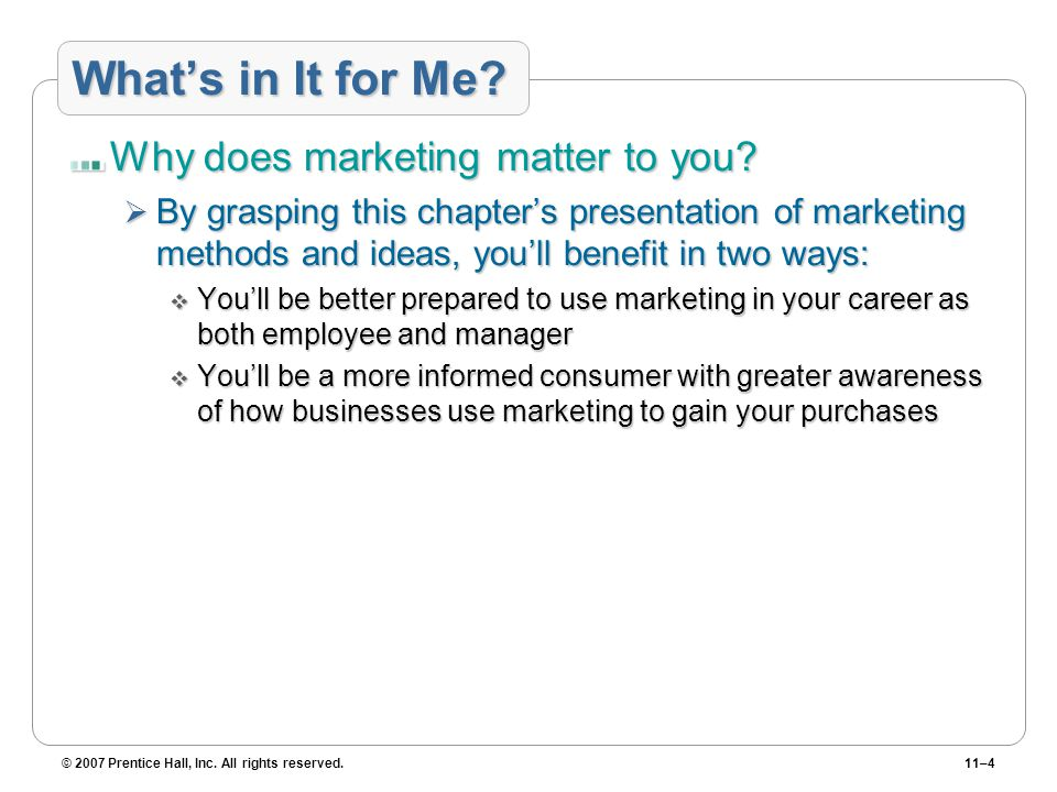 What's in It for Me Why does marketing matter to you