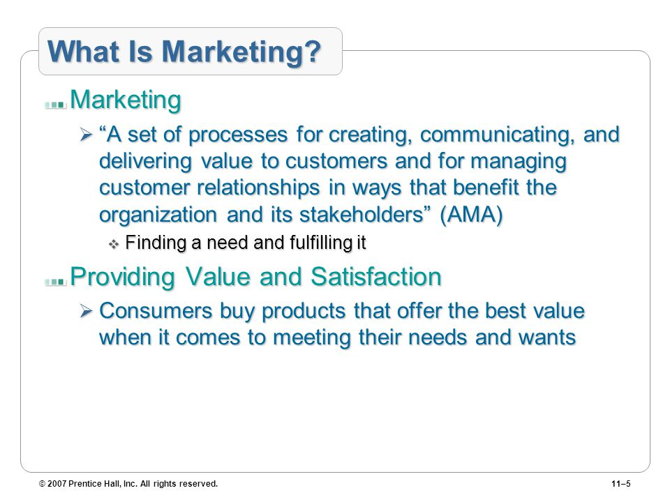 What Is Marketing Marketing Providing Value and Satisfaction