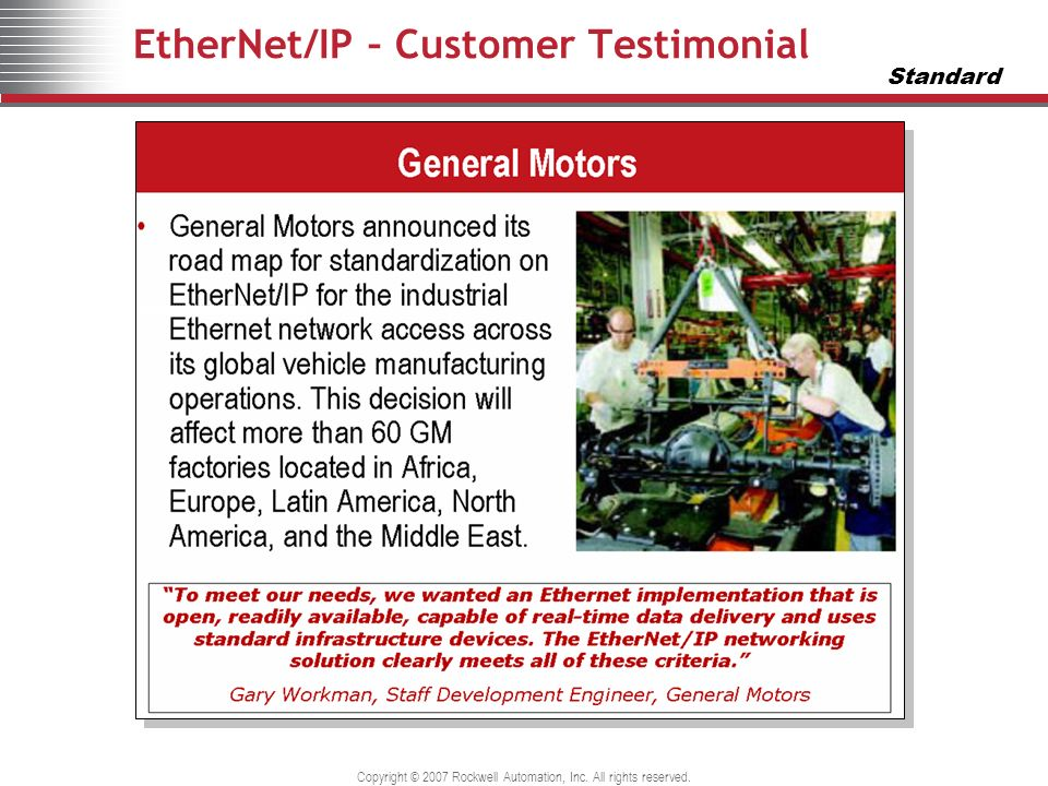 EtherNet/IP – Customer Testimonial