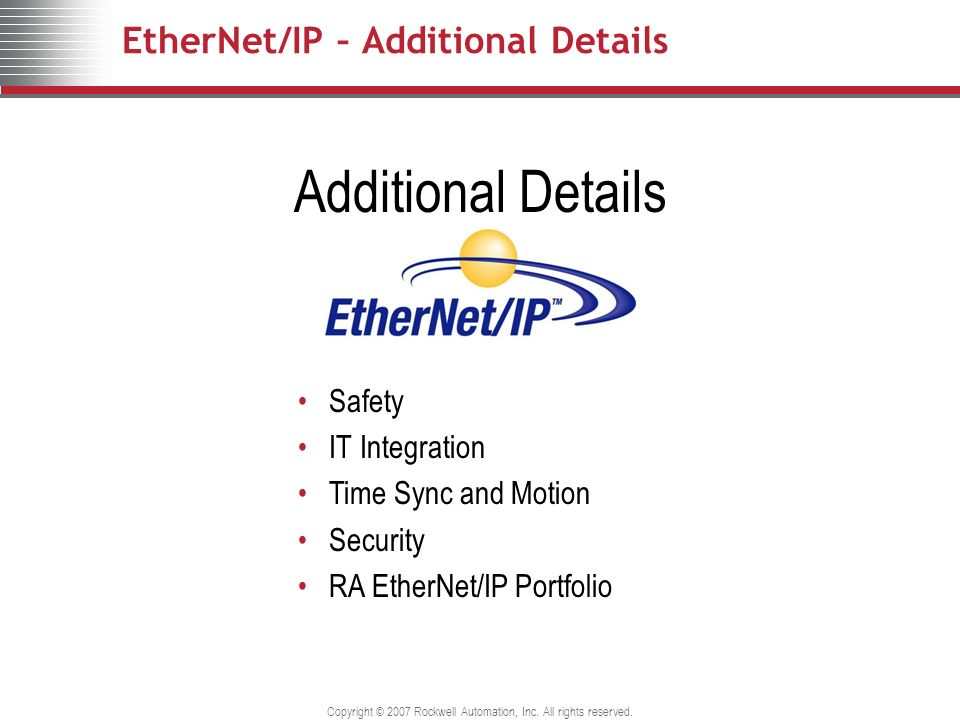 EtherNet/IP – Additional Details