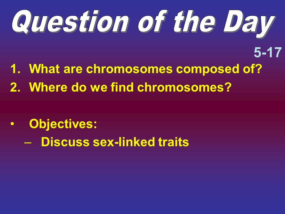 Question of the Day 5-17 What are chromosomes composed of
