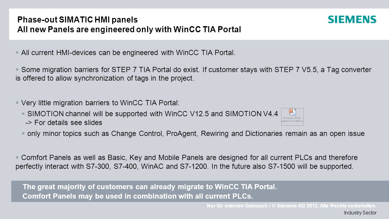 Phase-out SIMATIC HMI panels All new Panels are engineered only with WinCC TIA Portal
