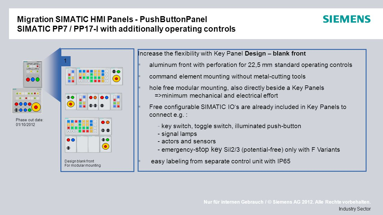 Migration SIMATIC HMI Panels - PushButtonPanel SIMATIC PP7 / PP17-I with additionally operating controls