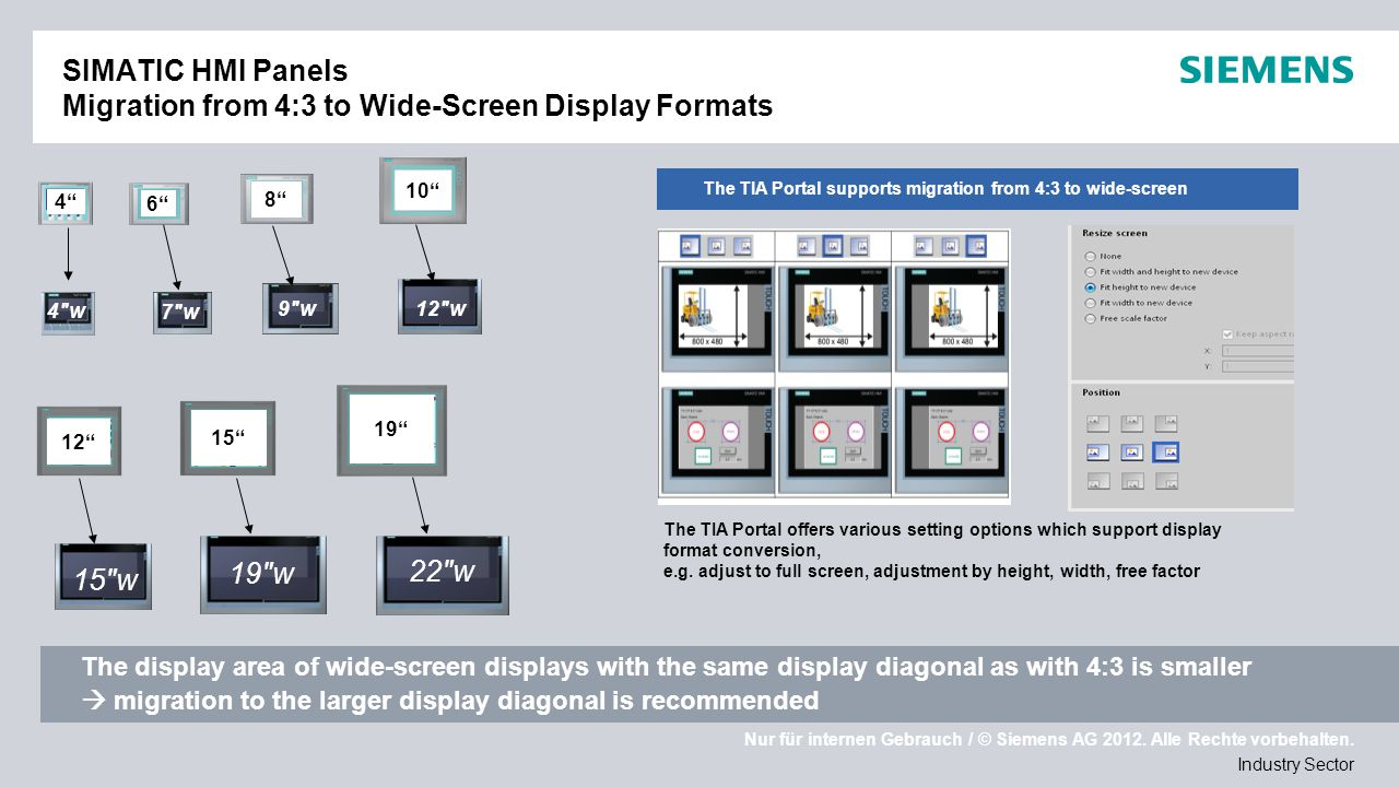 SIMATIC HMI Panels Migration from 4:3 to Wide-Screen Display Formats