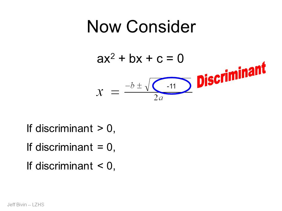 Now Consider Discriminant ax2 + bx + c = 0