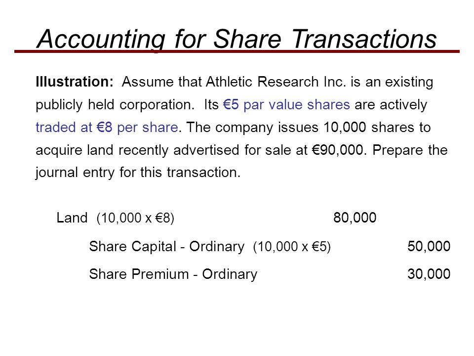 Accounting for Share Transactions