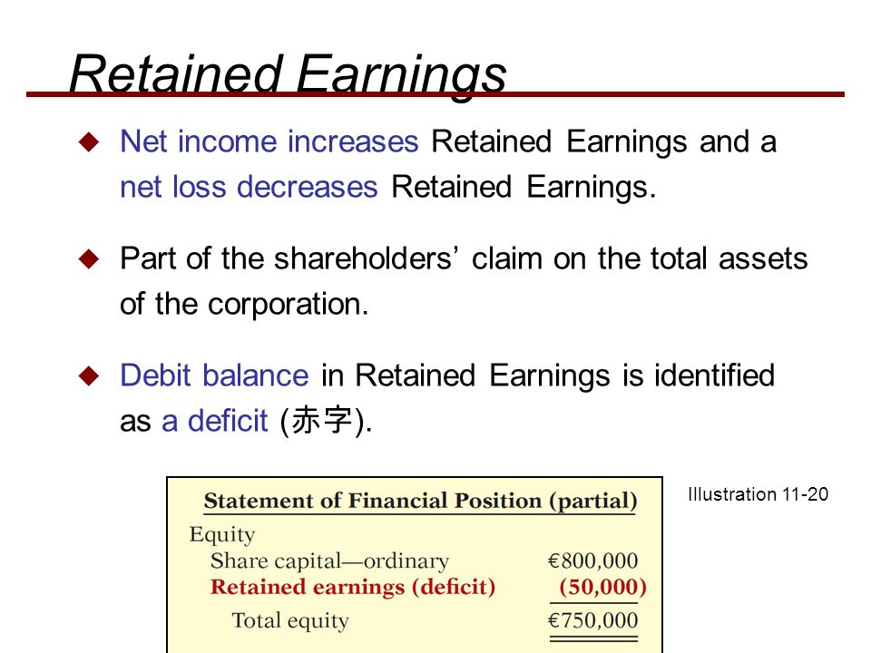 Retained Earnings Net income increases Retained Earnings and a net loss decreases Retained Earnings.