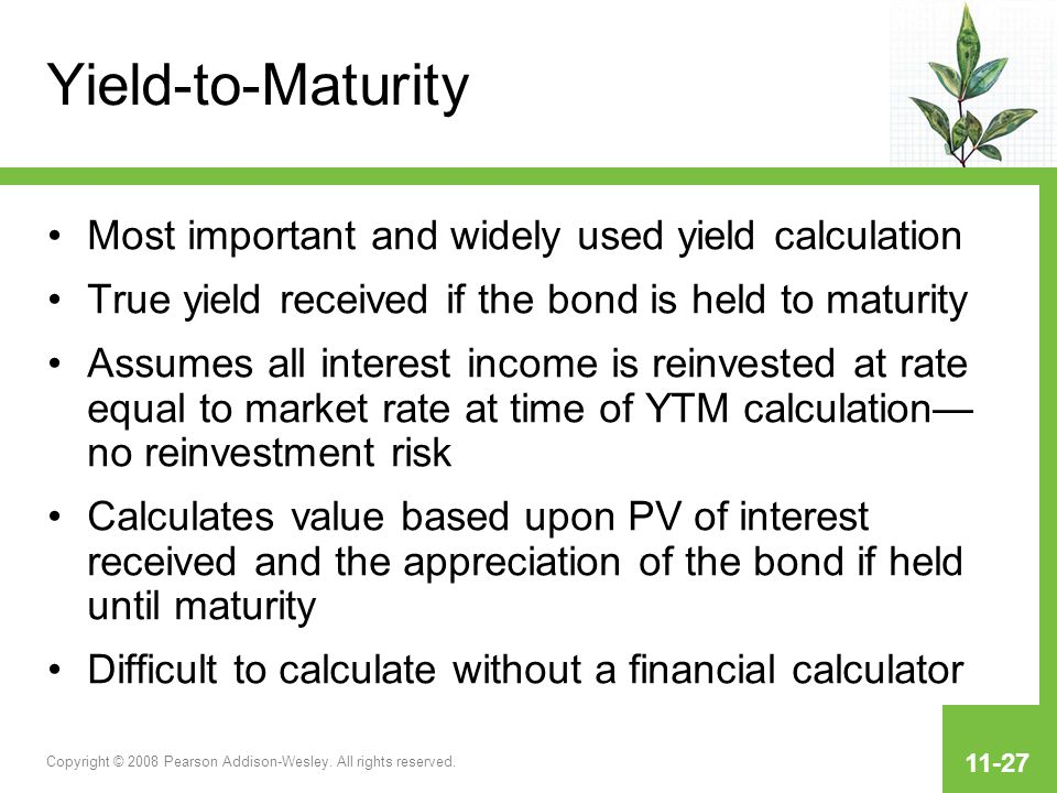 Calculate bond yield to maturity