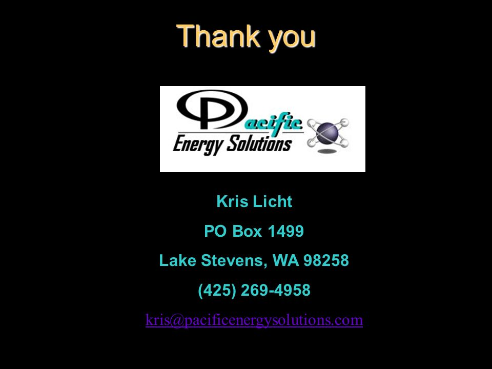 Thank you Kris Licht PO Box 1499 Lake Stevens, WA 98258 (425) 269-4958