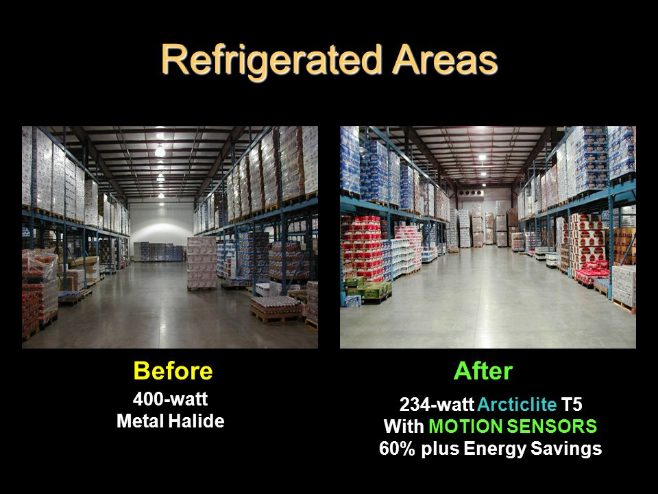 Refrigerated Areas Before After 400-watt 234-watt Arcticlite T5