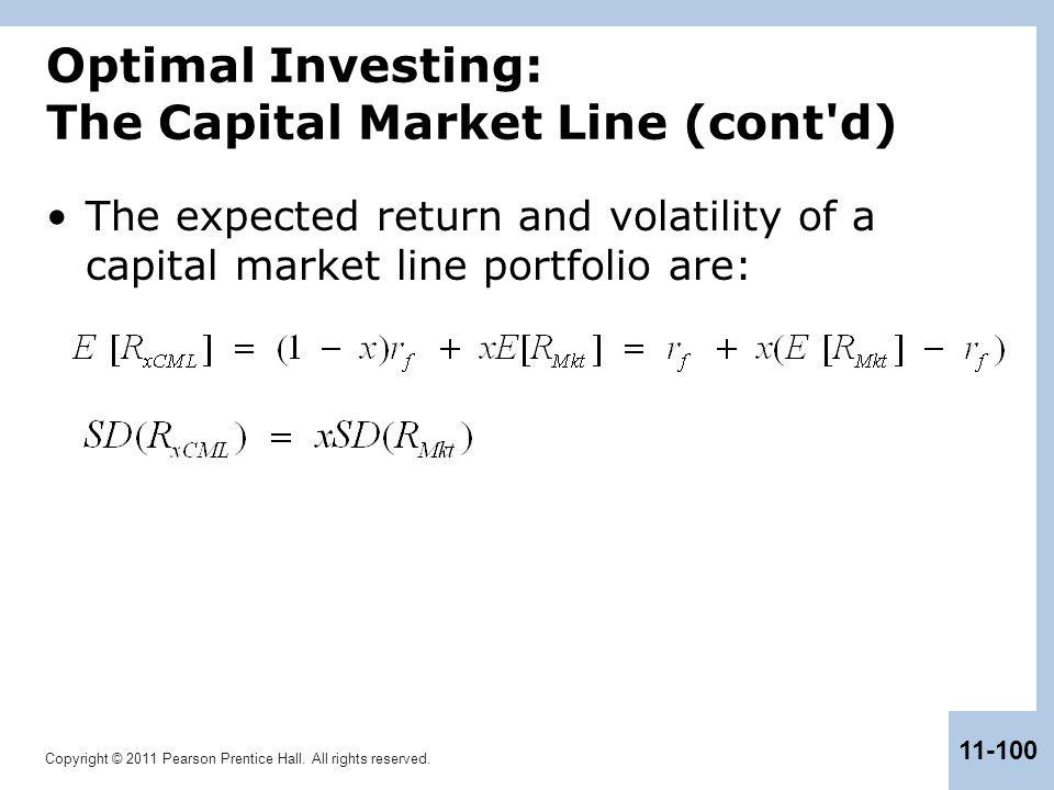Optimal Investing: The Capital Market Line (cont d)