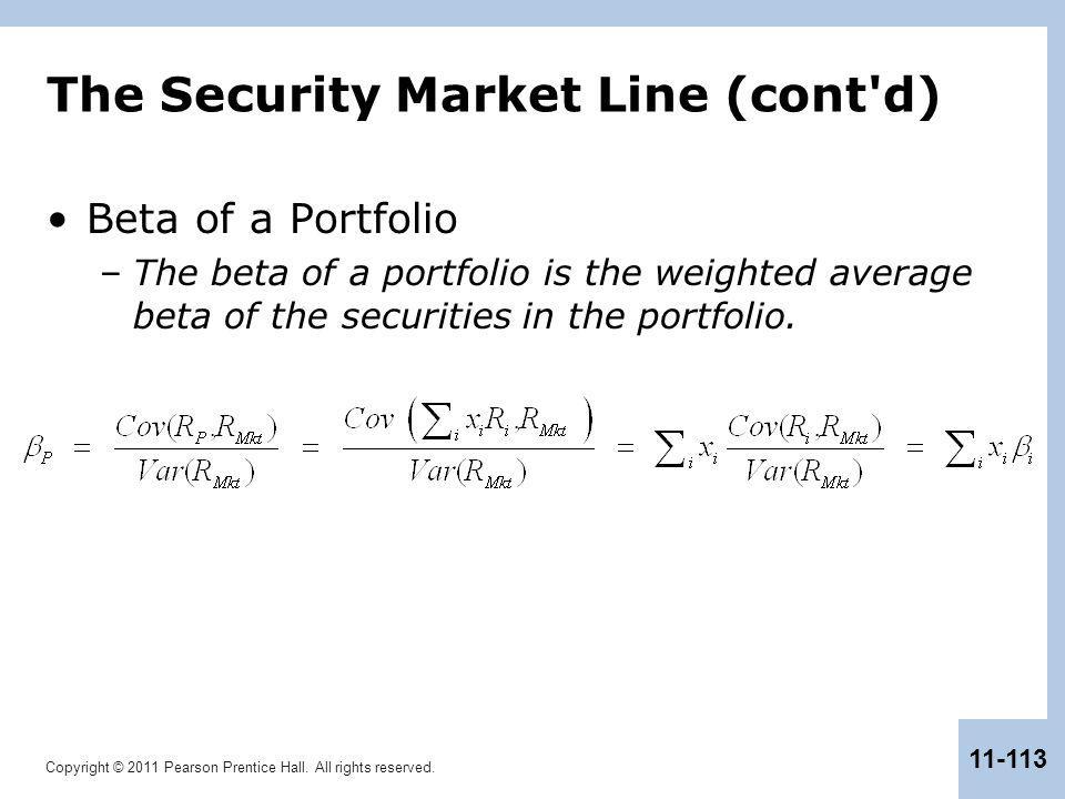 The Security Market Line (cont d)