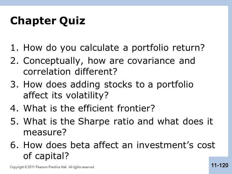 Chapter Quiz How do you calculate a portfolio return