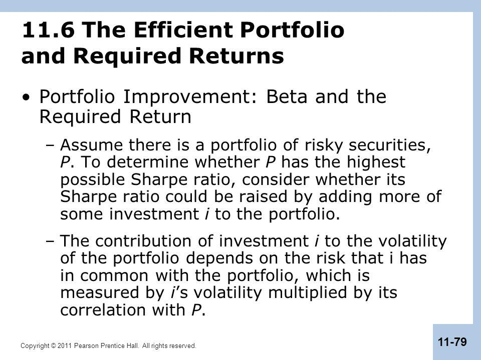 11.6 The Efficient Portfolio and Required Returns