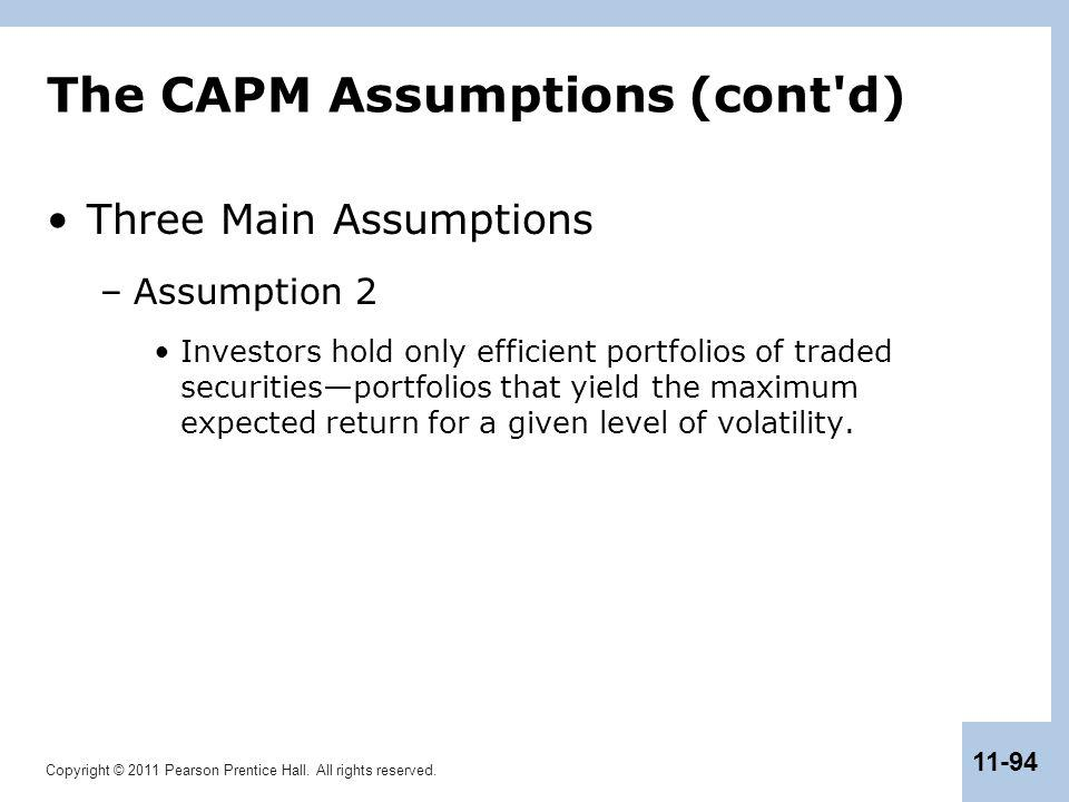 The CAPM Assumptions (cont d)