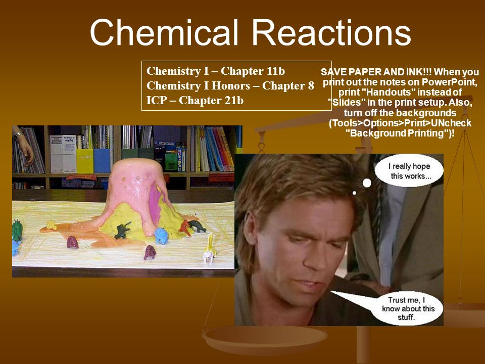 Chemical Reactions Chemistry I – Chapter 11b Chemistry I Honors – Chapter 8 ICP – Chapter 21b.