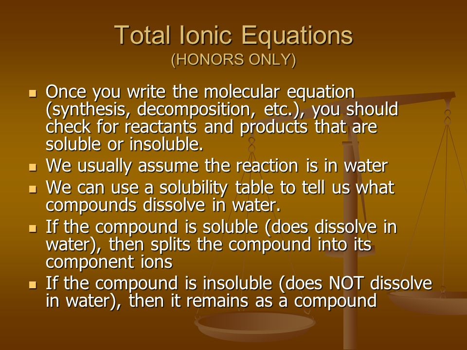 Total Ionic Equations (HONORS ONLY)