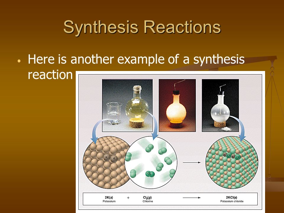 Synthesis Reactions Here is another example of a synthesis reaction
