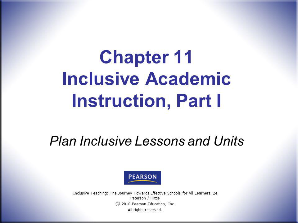 Chapter 11 Inclusive Academic Instruction, Part I