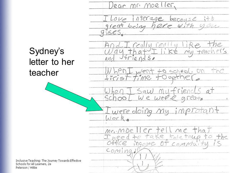 Sydney's letter to her teacher